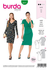 Dress in wrap look –  figure fitting. Burda 6211.