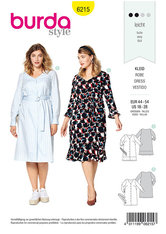 Dress with Button Fastening,  V-Neck, Hem Flounce. Burda 6215.