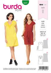 Dress, sleeveless, v–neck  with floun, casual cut. Burda 6221.