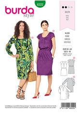 Dress with Pleats at Neckline,  Raglan Sleeves. Burda 6222.