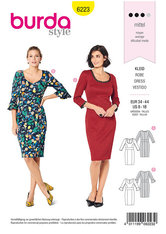 Dress with band at waist,  two neckline variations. Burda 6223.