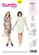 Dress, V-Neck, Skirt with Pleats, Slightly Draped Pockets. Burda 6224.