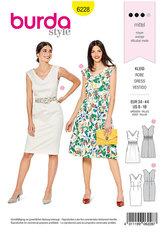 Dress with Shirring,  Sheath Dress, V-Neck. Burda 6228.
