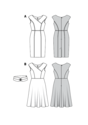 Elegant, figure-hugging dresses to guarantee an extravagant entrance at any event – a mock wrap bodice and slightly over-cut shoulders are very flattering. The wide V-neck is sure to turn heads. These dresses differ in the style of the skirt: one narrow w.