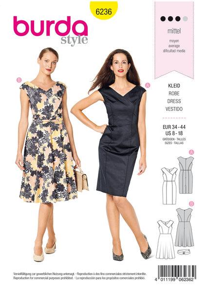 Dress in Wrap Look,  V-Neck,  Over-cut Shoulders