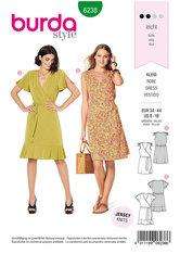 Dress, Wrap Dress,  Gathered Shoulders. Burda 6238.