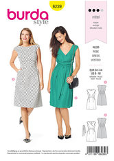 Dress with Band at the Waist –  Over-cut Shoulders. Burda 6239.