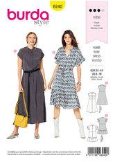 Dress with Button Fastening –  Stand Collar, Frills. Burda 6240.