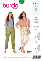 Trousers, Pants with Side Zip Fastening ,  Hip Yoke Pockets, Turn-ups. Burda 6242.