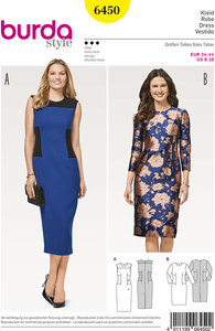 Slim dress with or without sleeves. Burda 6450.