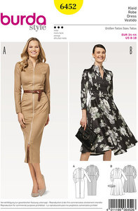 Dress with flare and dresssuit with front zipper. Burda 6452.