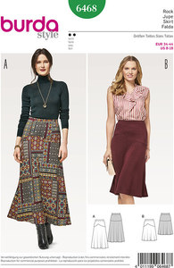 Skirt with waistband and width. Burda 6468.