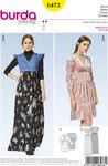 Burda 6473. Dress with high waist.