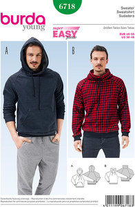Men´s Pullover, Hoodie, Raglan Sleeves. Burda 6718.