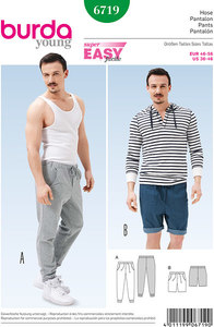 Jogging Pants, Bermuda Shorts, Drawstring Pants. Burda 6719.