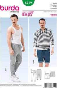 Jogging Pants, Bermuda Shorts, Drawstring Pants. Burda 6719.
