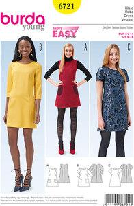 Dress, Sleeveless Dress  Flared, Patch Pockets. Burda 6721.