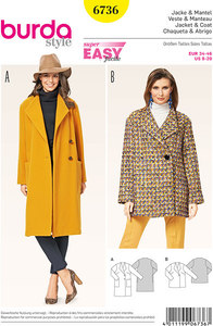Jacket, Coat, Spade Collar. Burda 6736.