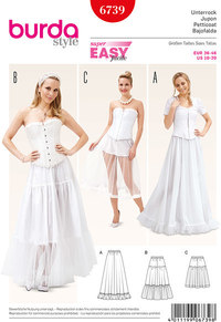 Underskirt, Elastic Casing Tiered Skirt, Flounce Skirt. Burda 6739.