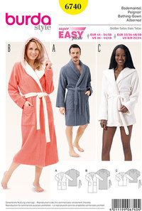 Bath Robe, Shawl Collar, Hood. Burda 6740.