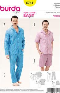 Men´s Pyjamas, Classic Style. Burda 6741.