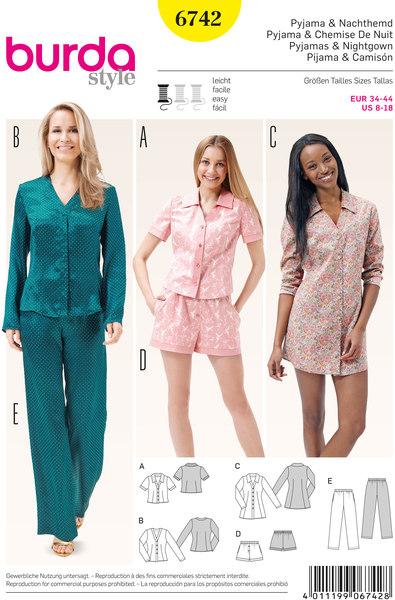 Pyjamas, Nightshirt, Shorts, Blouse, Tunic Top