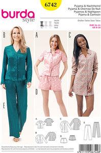 Pyjamas, Nightshirt, Shorts, Blouse, Tunic Top. Burda 6742.