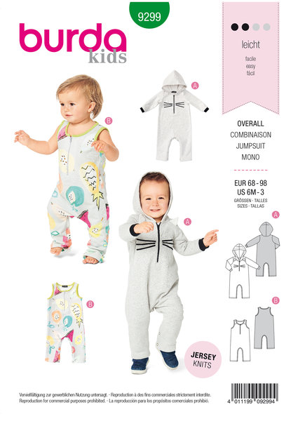 Overalls, with Hood,  with or without Sleeves, Crotch Fastening