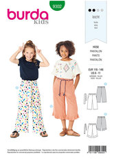 Pants with Elastic Waist, Culottes. Burda 9302.