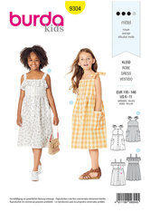 Pinafore Dress with Front Button Fastening, Gathered Skirt. Burda 9304.