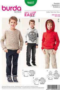 Sweater, Pullover, Hoodie. Burda 9407.