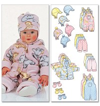 Infants Jacket, Overalls, Pants, Hat and Mittens. Butterick 5584.