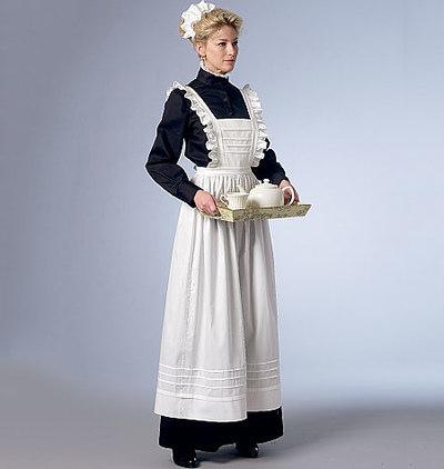 Long Dress, Apron, and Ruffled Headpiece