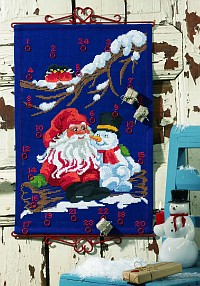 Blue christmas gift calendar with Santa and snowman. Permin 34-9251.