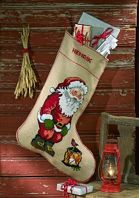 Embroidey Christmas stocking. Permin 41-9295.
