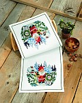 Permin 68-8532. Table runner in white with Santa.