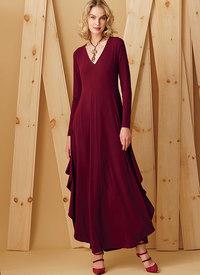 Knit, V-Neck, Draped Dresses, Kathryn Brenne. Vogue 9268.
