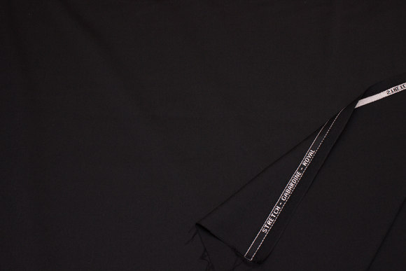 Black stretch-gabardine royal in wool and polyester