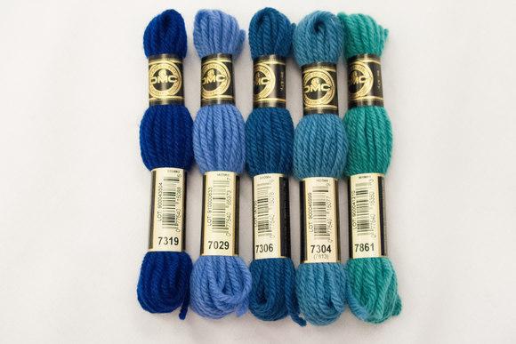 Wool-embroidery yarn DMC, green-blue colors