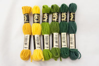 Wool-embroidery yarn DMC, green and yellow colors