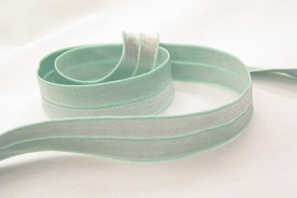Elastic, folded for edges silver/mint 2cm