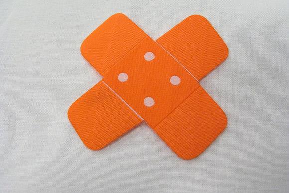 Orange bandaid iron on patch 7x7 cm