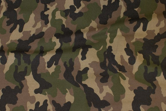Camouflagetwill with stretch in green-brown colors