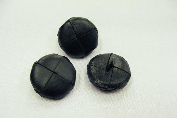 Leather button black 2 cm