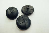Leather button black 2.5 cm