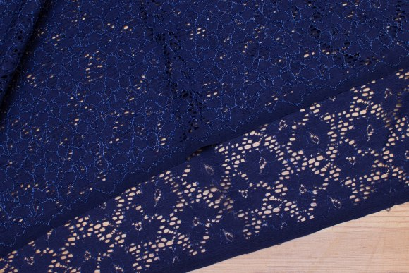 Light navy, soft lace with stretch along fabric