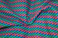 Green-blue-coral-purple small checks on cotton