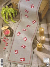 Birthday runner with flag embroidery. Permin 68-1102.