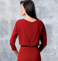 Dress has fitted (lining), blouson bodice with slightly raised front neckline extending into sleeves, shoulder pleats, close-fitting skirt and invisible back zipper and hemline slit.