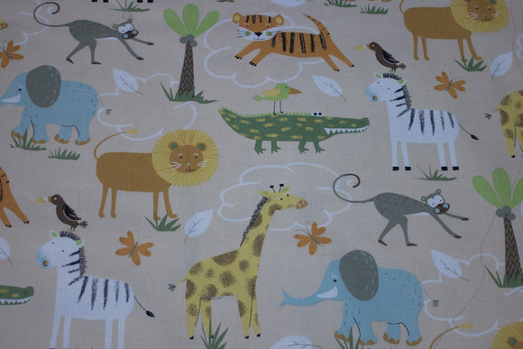 Beige, gots organic woven cotton with African animals